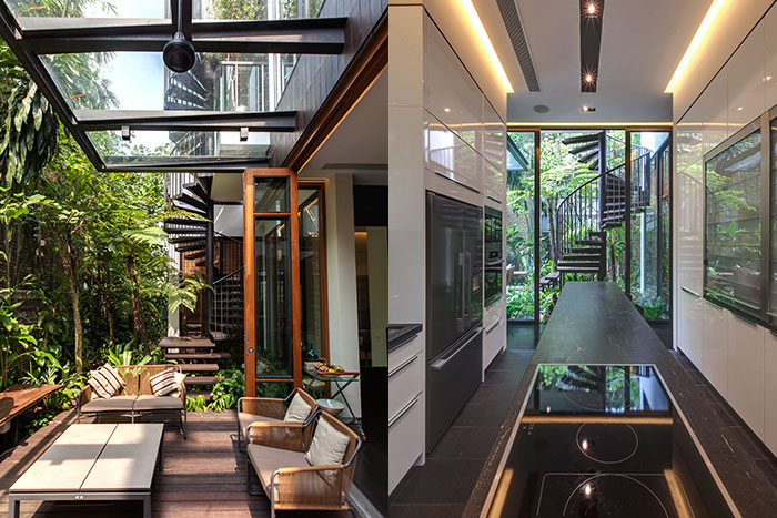 Amazing garden villa in Singapore by Aamer Architects - outdoor terrace and modern kitchen