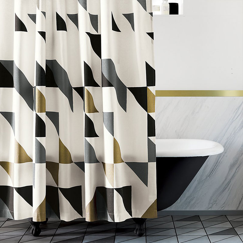 Geometric stylish shower curtain for a modern bathroom - Triangle shower curtain CB2