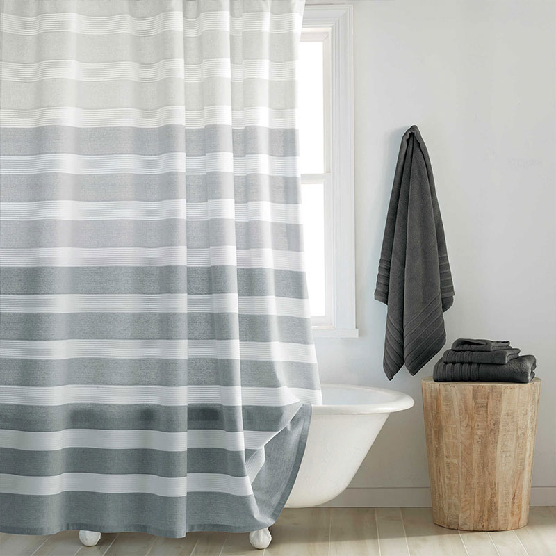 Grey shower curtain with horizontal stripes for a modern bathroom - Highline Shower Curtain Bed Bath & Beyond