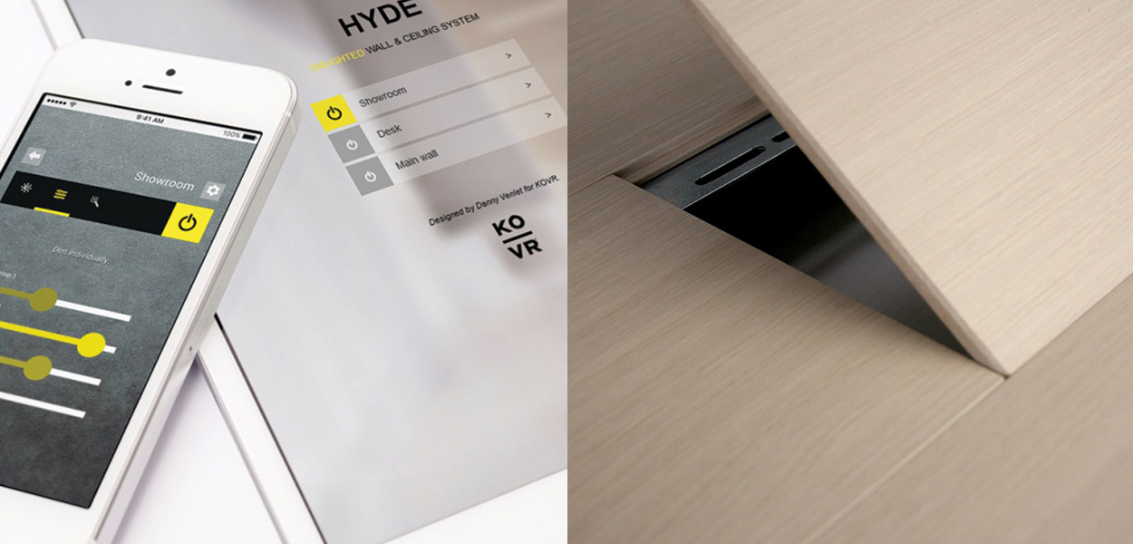 Hyde smartphone controlled LED wall panels - smartphone app and panel view