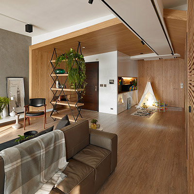 Explorer: Inviting apartment in Taiwan with open-space interior and plenty of spaces for the kids to play - by Awork Design Studio