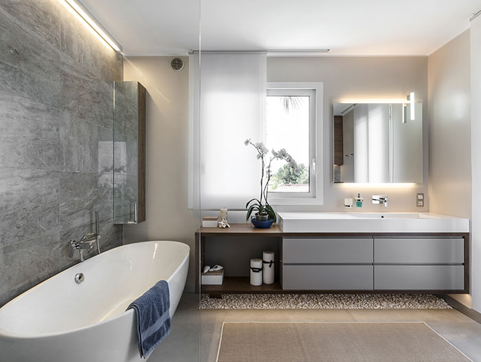 Luxurious bathroom design by NG-Studio in stylish villa in Italy