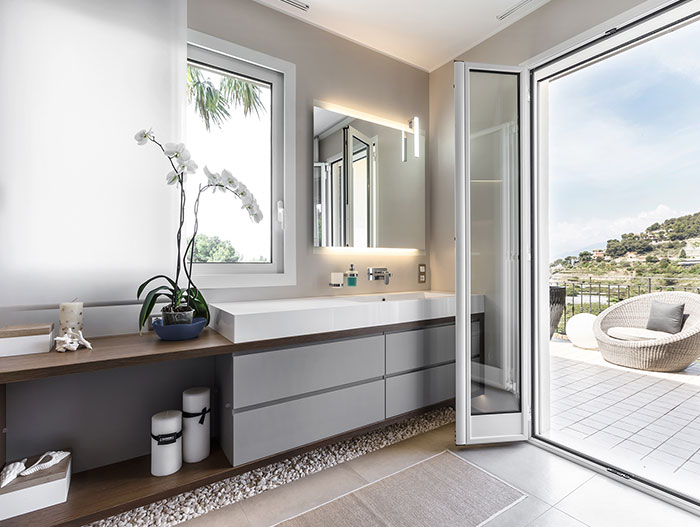 Luxurious bathroom in stylish villa in Bordighera, Italy - interior design by NG-Studio