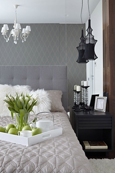 Luxurious bedroom design in contemporary apartment in Moscow, Russia by Alexandra Fedorova