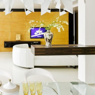 This luxurious Triumph Palace apartment in Moscow blends modern interior design with functionality