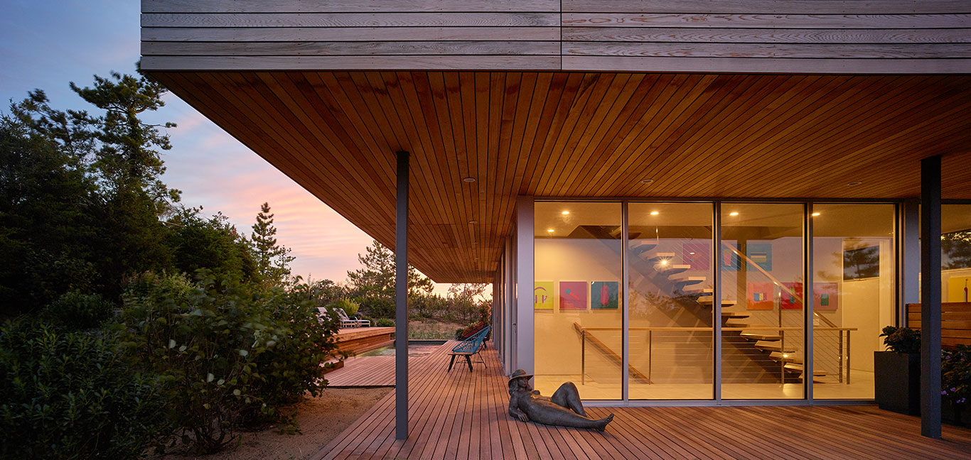 Creative exterior deck of a multigenerational house in New York.