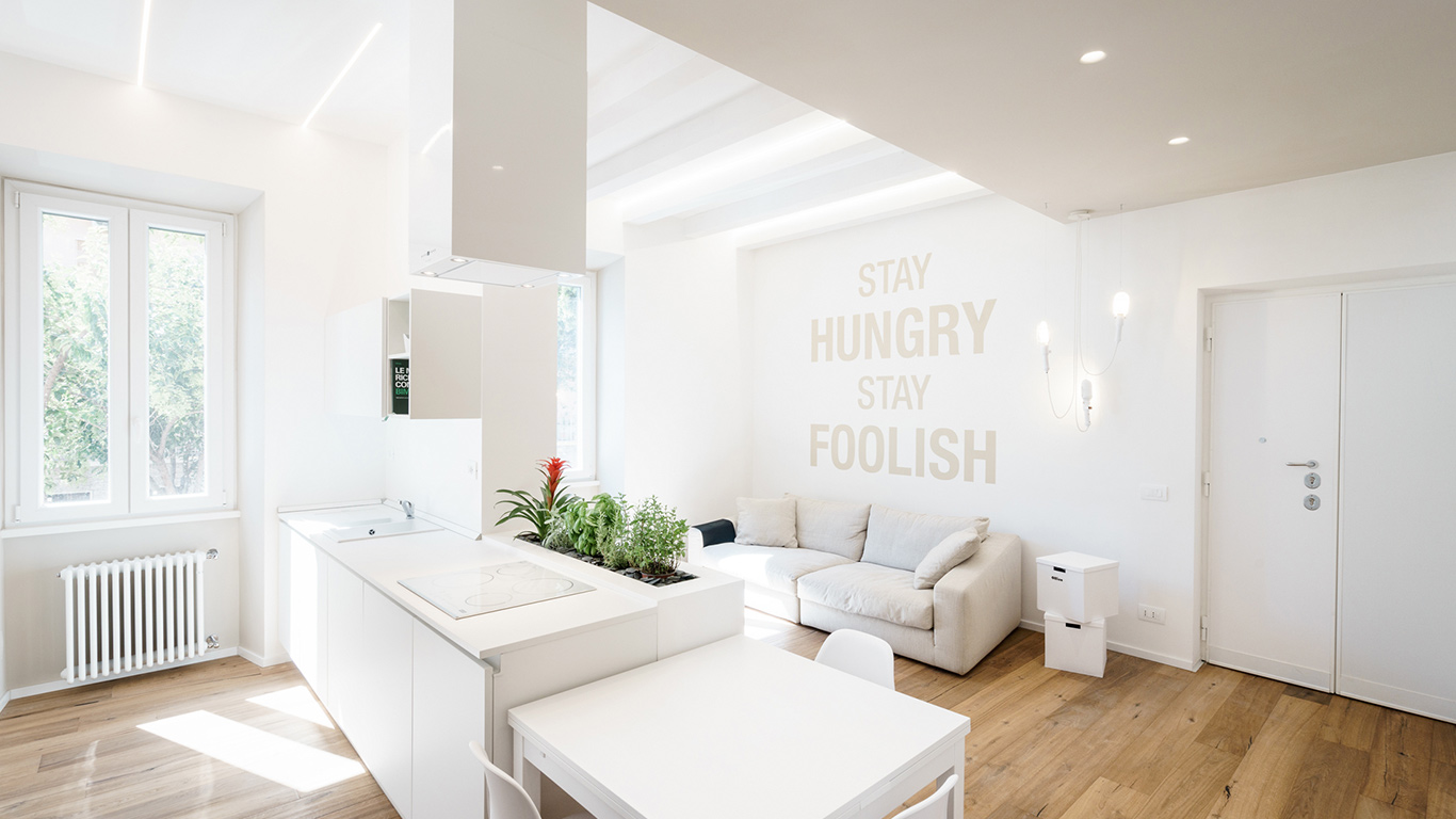 Minimalist Apartment With All White Interior In Rome By Brain Factory U2013  Architecture U0026 Design