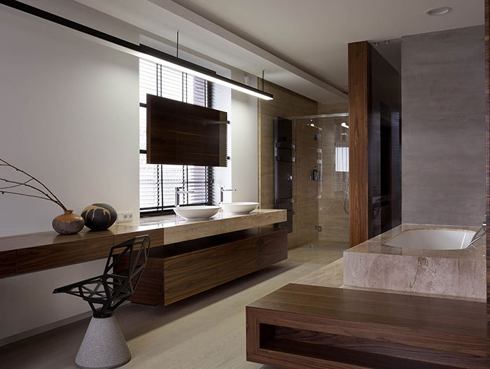 Amazing ensuite bathroom design in stylish luxury home in Ukraine by NOTT Design