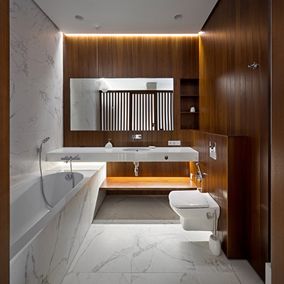 Modern bathroom design in elegant apartment Ukraine