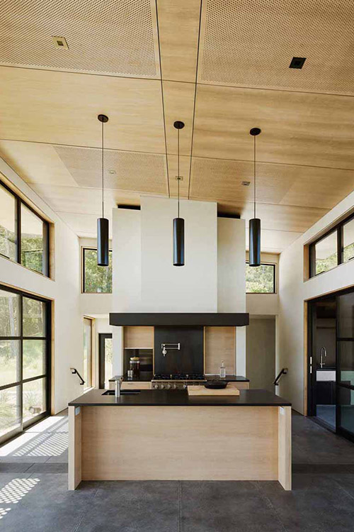 Modern kitchen design idea in amazing California wine country residence for a luxurious indoor-outdoor lifestyle by Feldman Architecture