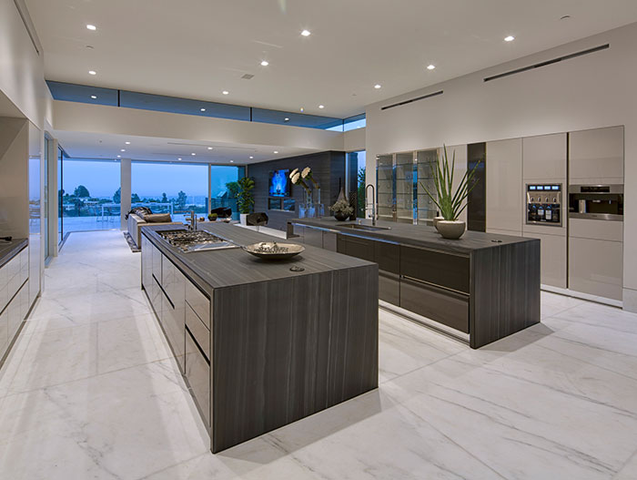 Modern kitchen in stunning Beverly HIlls mega mansion Carla Ridge Residence