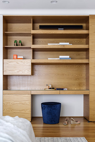 Modern shelves inside bedroom of renovated Australian home