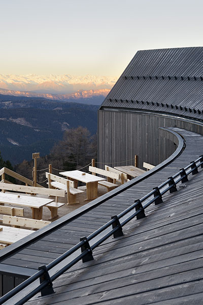 Oberholz Mountain Hut by Peter Pichler Architects contains a restaurant and is located in Obereggen, in the Italian Alps, at 2.000m