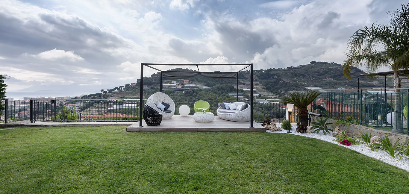 Spectacular outdoor lounge area - stylish villa in Bordighera, Italy designed by NG-Studio