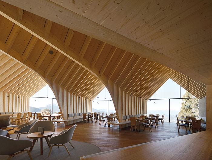Oberholz Mountain Hut by Peter Pichler Architects:  This beautiful restaurant located in the Italian Alps offers great food and stunning mountain views