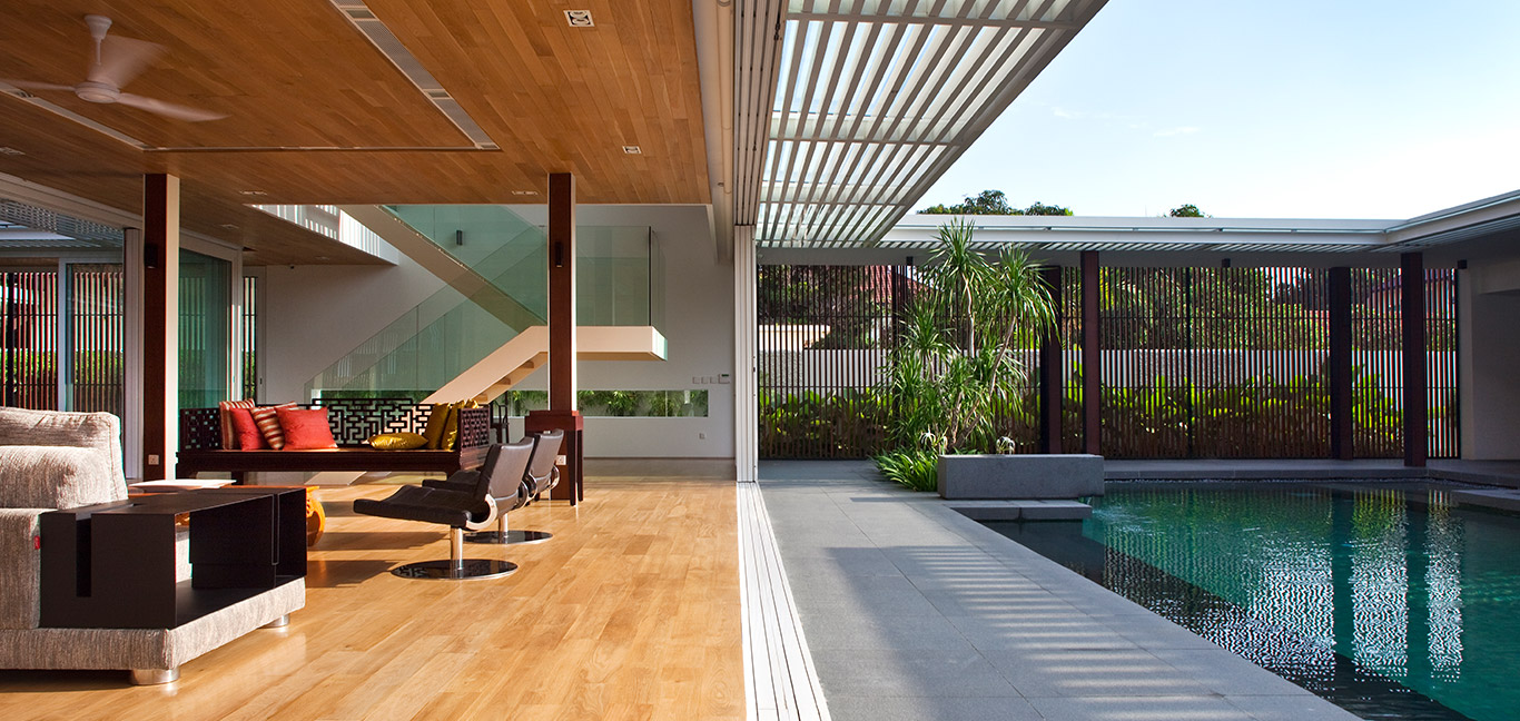 Spacious contemporary house in Singapore designed for an indoor-outdoor lifestyle