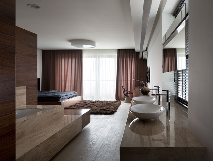 Luxurious and stylish  bedroom design in incredible neutral colored home in Dnepropetrovsk, Ukraine
