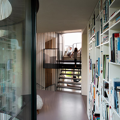 Modern staircase in contemporary smart home in The Netherlands