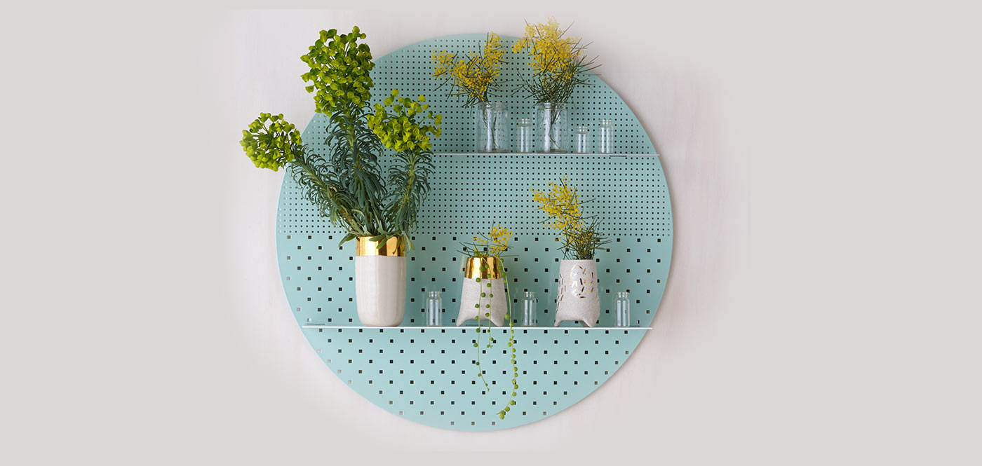 Stylish perforated wall shelves circular shelf with flowers and plants