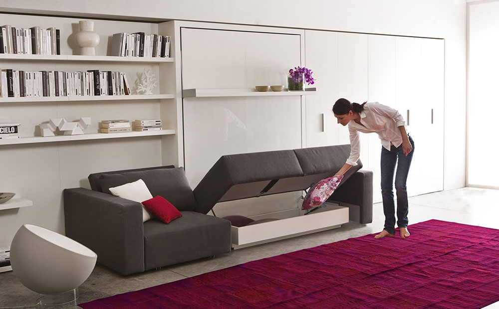 Swing murphy bed for small homes