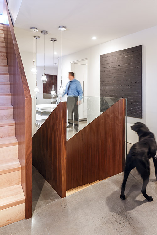 Walnut staircase in a contemporary Canadian house - design by Omar Gandhi Architect