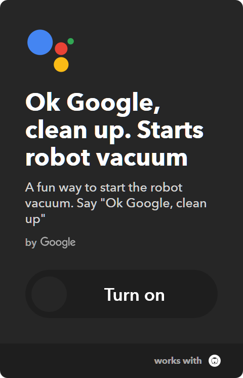 IFTTT Applet : Start Samsung robot vacuum by voice - Ok Google, clean up