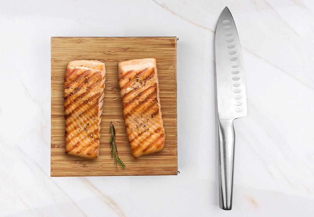 Bambleu folding cutting board saves storage space in small kitchens