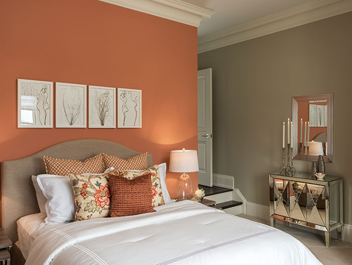 Beautiful Orange Bedroom In A Traditional House In Ontario