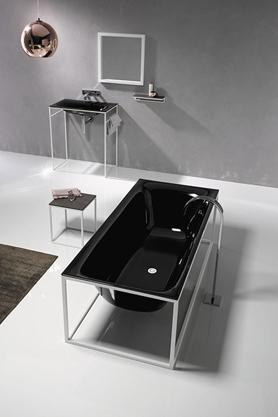 BetteLux Shape Collection By Bette Black Bath With White Frame