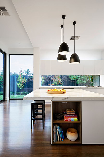 East Malvern Residence Modern Kitchen With Garden View