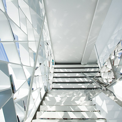 Futuristic House in Athens White Staircase