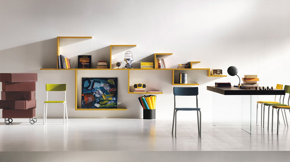 LagoLinea Wall-mounted sectional bookcase by Lago