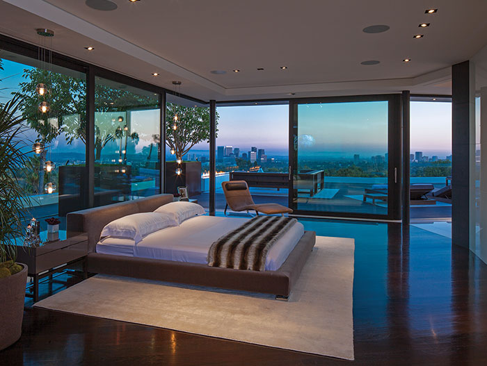 Laurel Way Residence in Beverly Hills: Modern bedroom with impressive view