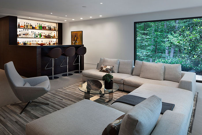 Living Room And Bar In New Canaan Connecticut