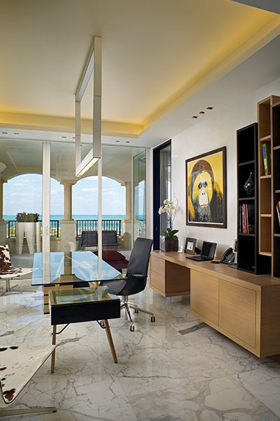 Luxurious Home Office In Stunning Florida Apartment By Pepe Caldern Design