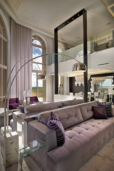 Luxurious Living Room Design With Custom Designed Sofa And Double Curved Lamps