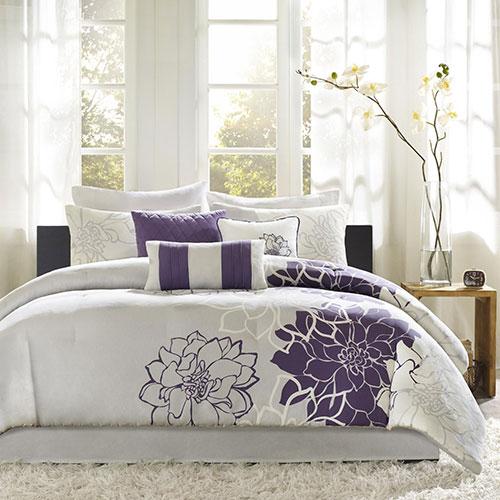 Madison Park Lola 7 Piece Print Comforter Set Queen Size