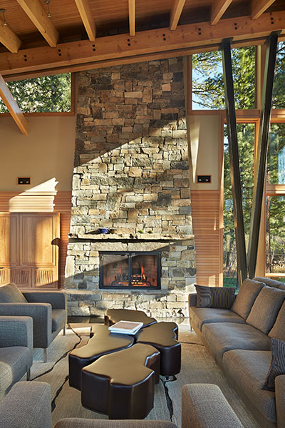 Mazama - Mountain House Living Room With Unique Coffee Table