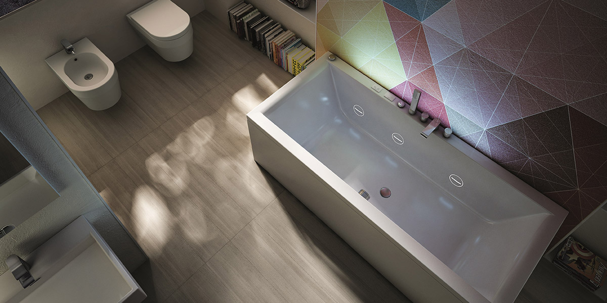 Mia Collection By Teuco - Rectangular Bathtub With Hydroline Basic System