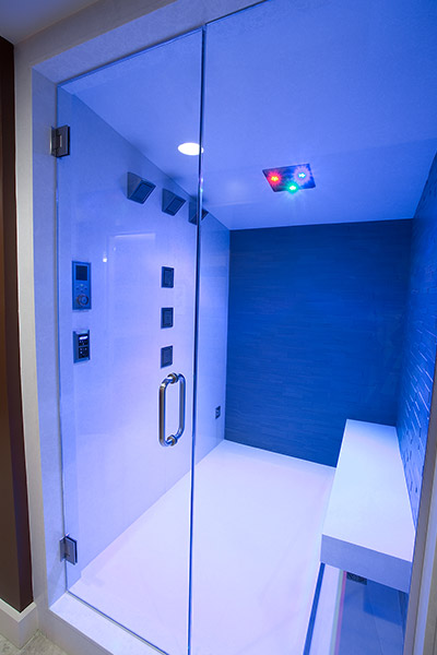 Modern Bathroom Design With LED Color Changing Shower Head