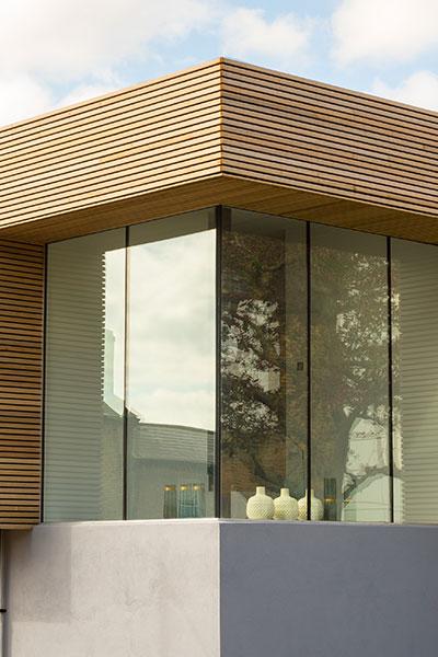 Modern House in UK Corner Window Exterior View