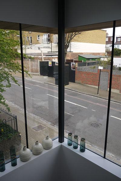 Modern House in UK Corner Window Interior View