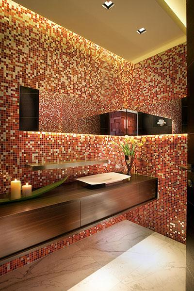 Modern Powder Room In Luxurious Florida Apartment By Pepe Caldern Design