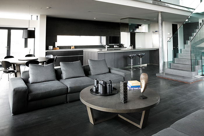 Modern Scandinavian Living Room And Kitchen In A Vacation Home In Iceland