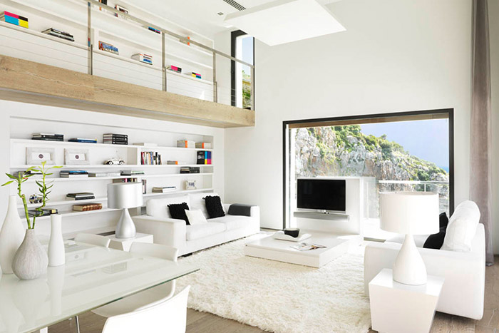 Pure White Modern Living Room Design