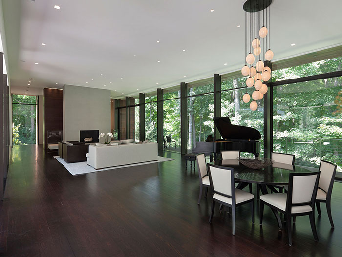 Social Area Modern Living Room Dining Room And Piano