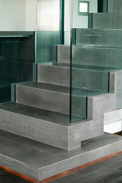 Steel Frame Staircase Covered With Icelandic Bluestone