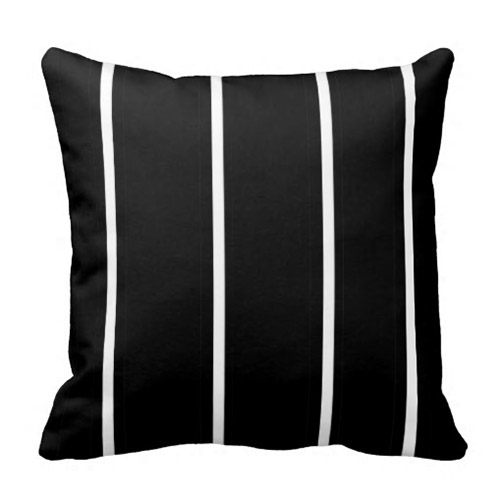 Striped Black And White Square Throw Pillow