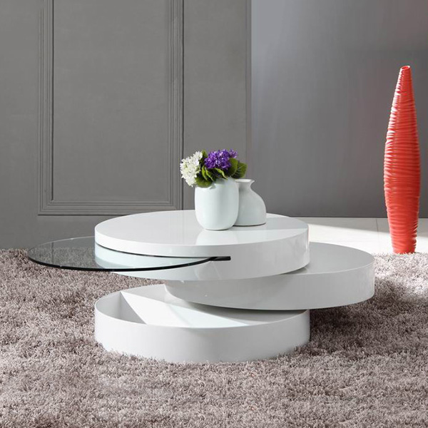 Tier Modern White Swivel Coffee Table