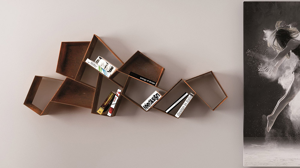 W SU LINE Floating metal bookcase by Ronda Design